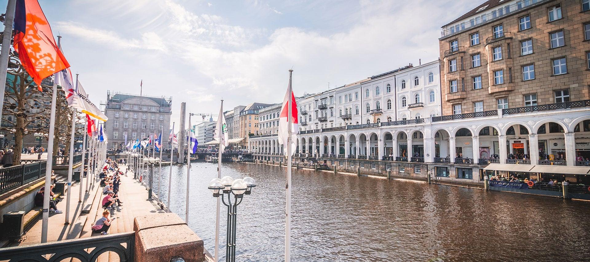 Ansicht von Hamburg, der Stadt des Hauptstandortes von Carepoint